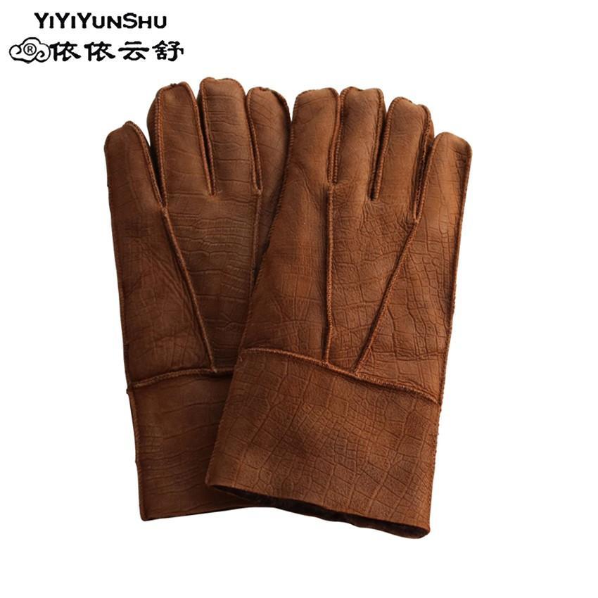2018 neue winter herrenhandschuhe wolle echtes leder schaffellhandschuhe solide schafspelz handschuhe warm male