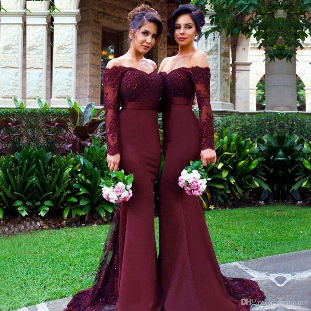 Mermaid Long Sleeve Bridesmaids Dresses Saudi African 2019 Maid Of Honor Dress Cheap Lace Appliques Wedding Party Dress