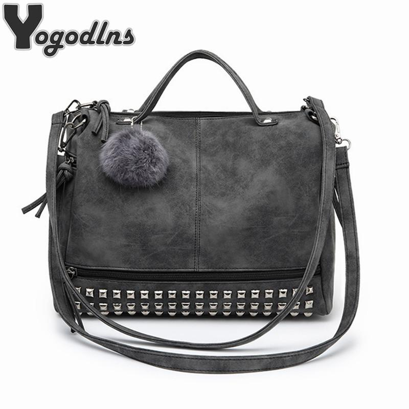 Hot Vintage Nubuck Leather Female Top-handle Bags Rivet Larger Women Bags Hair Ball Shoulder Bag Motorcycle Messenger Bag Y1891204