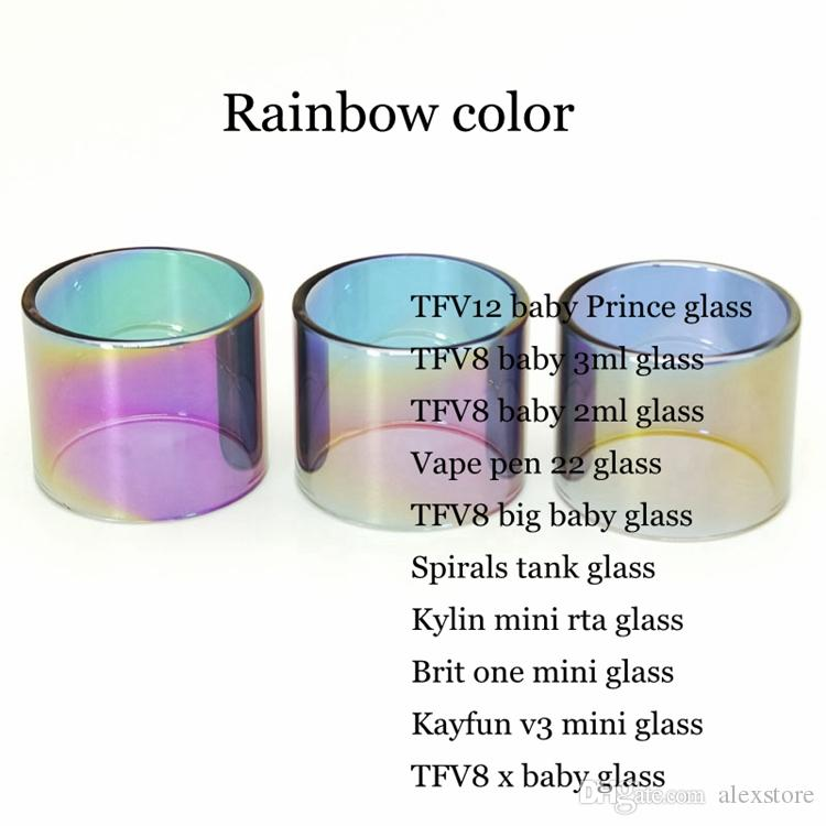 Rainbow Color Replacement Glass Tube for TFV8 baby X Prince 3ml Vape pen 22 TFV8 Big Baby Spirals Brit one Kayfun v3 Kylin Mini RTA