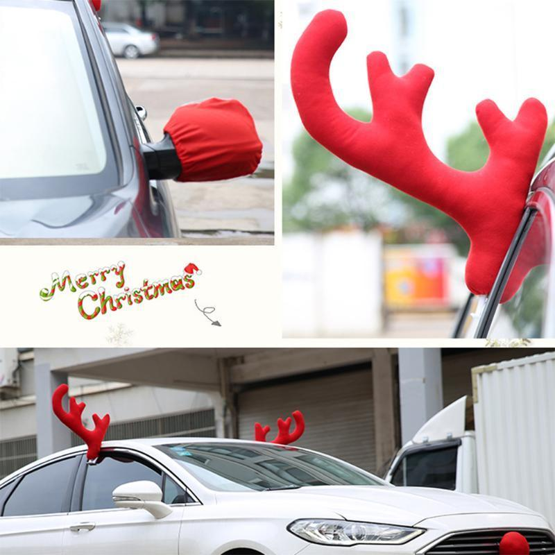 Christmas Car Decorations.Christmas Reindeer Antlers Car Decor Antlers Red Nose Xmas Deer Horn Christmas Decorations For Home Y18102909 Snowflake Decorations Snowman Christmas