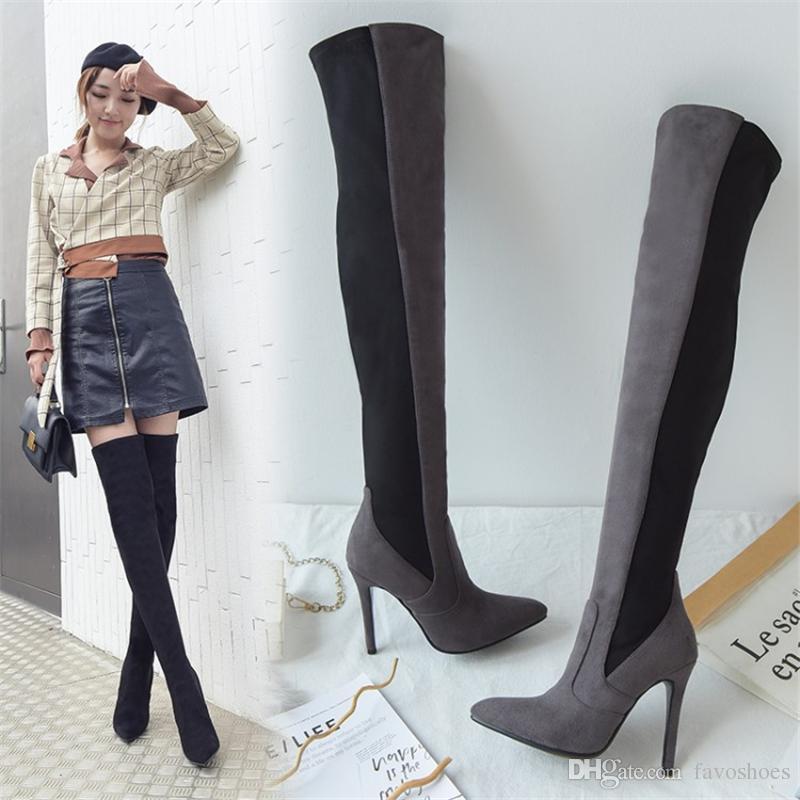 Moda Donna Patchwork Stivali coscia alti Scarpe Stivali sopra il ginocchio sexy FS-B810 Tacco a spillo su misura da Favoshoes