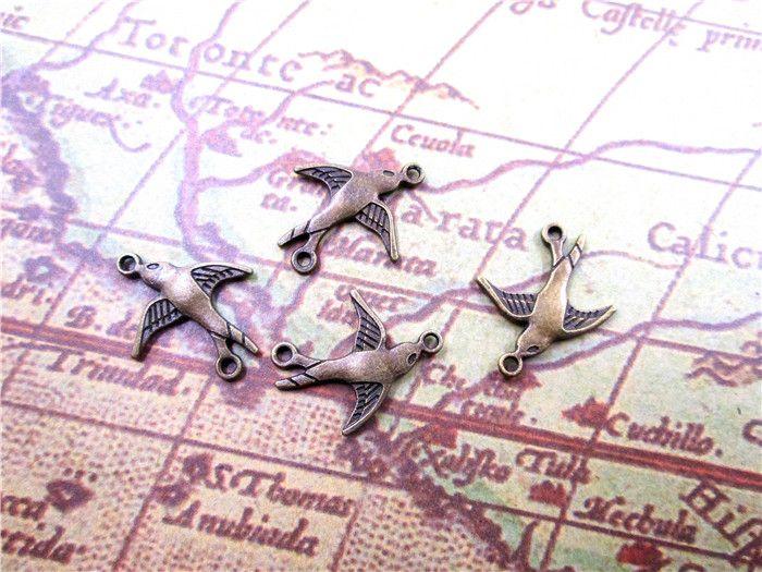 60 PCS - Swallow - Bronze Cute Lovely Bird Pendants,Sparrow Charms,Robin Charms, DIY Supplies, 20x17mm