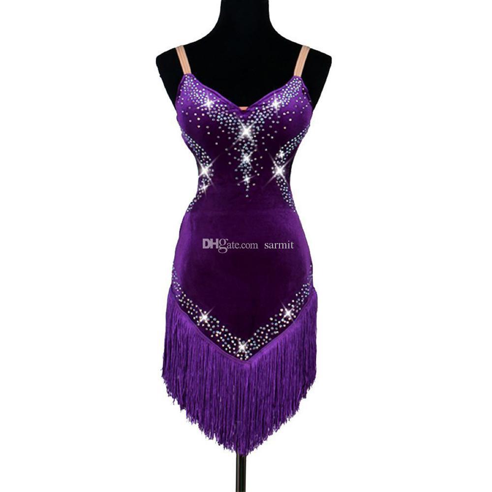 Vestido de Dança Latina Mulheres Salsa Desgaste Da Dança Trajes de Dança Lírica com Borlas 3 Cores D0177 com Shinning Pedrinhas Bra Copo