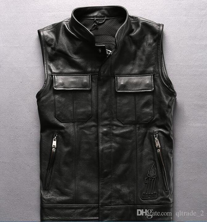 Gilet locomotivo esterno fuoco cranio testa nero giacche in vera pelle giacca in pelle di mucca giacche senza manica Giacca a vento