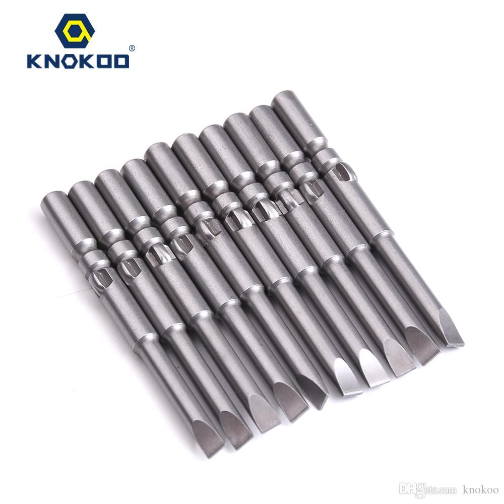 KNOKOO 10pcs/lot 5*60*SL4.0 Screwdriver Drill Bit 60MM Slotted Head Screw Driver Bits H5 Shank Magnetic SLOT Shaped Driver Bits