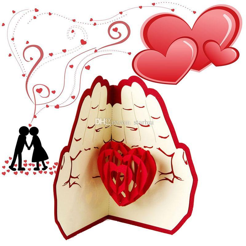 الحب في اليد 3D المنبثقة بطاقات المعايدة عيد ميلاد الذكرى عيد الميلاد حفل زفاف بطاقات بريدية هدايا WX9-266