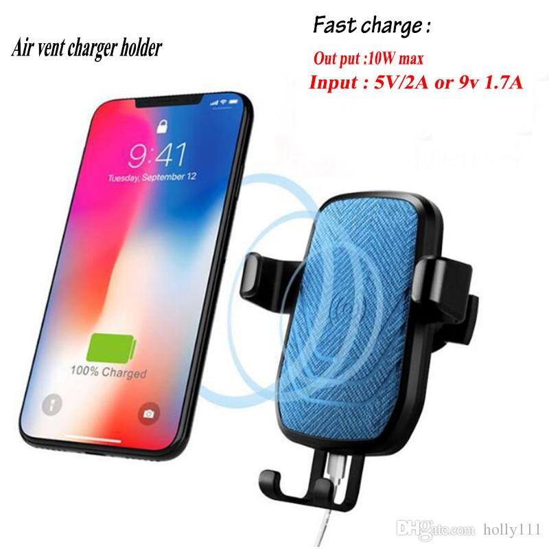 Wireless Car Charger Air Vent Holder 360 Rotation Triangle Lock Holder Stand Cooling Hole ABS Fast Charger for Phone free shipping