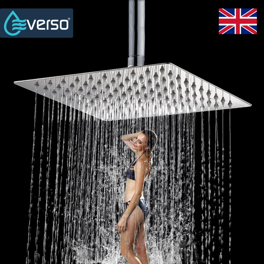 "EVERSO 8"" Bathroom Rainfall Shower Head Set Ceiling Rain Shower Handheld Head Overhead High Pressure"