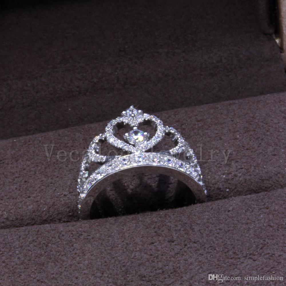 Vecalon 2018 Lovers Corona anello 5A zircone CZ 925 Sterling Silver matrimonio fidanzamento Riempito Fedina per gli uomini delle donne