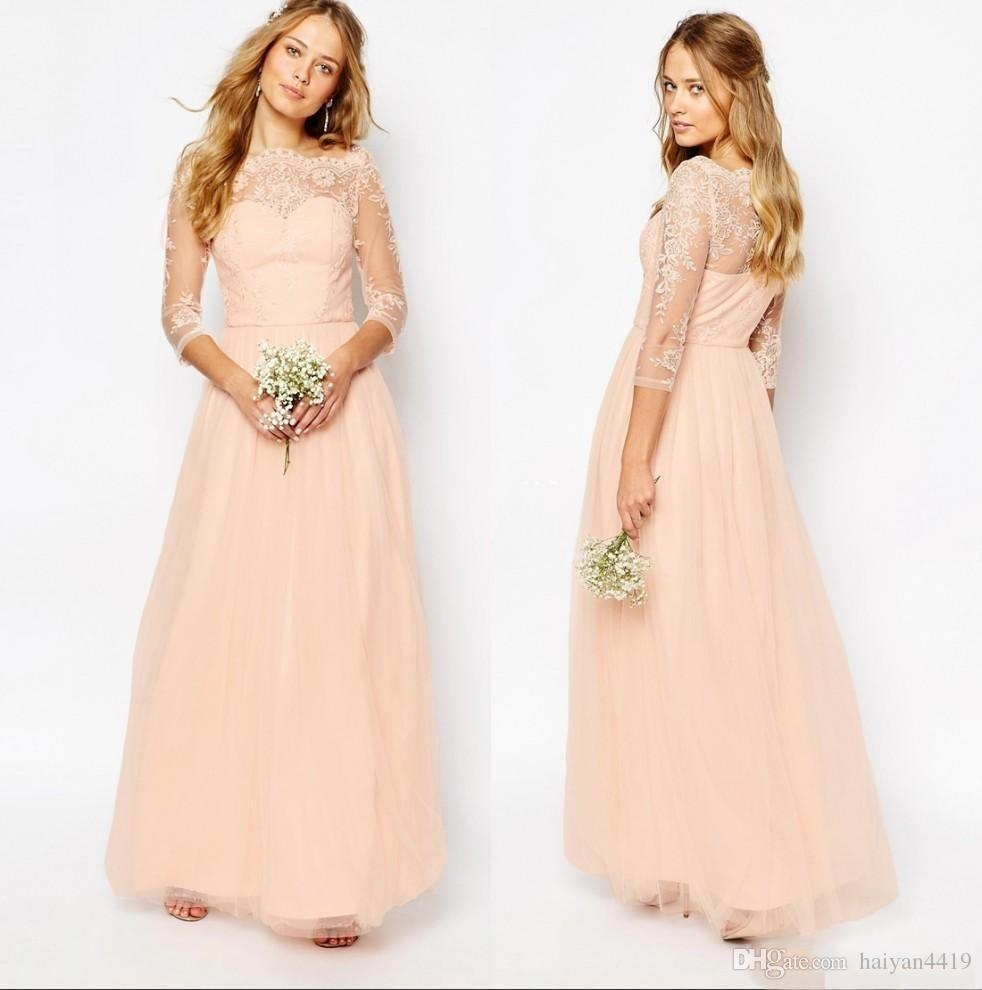2018 Cheap Peach Pink Bridesmaid Dress Lace Appliques Bateau Neck 3/4 Long Sleeves A Line Formal Prom Party Wedding Guest Gowns Custom