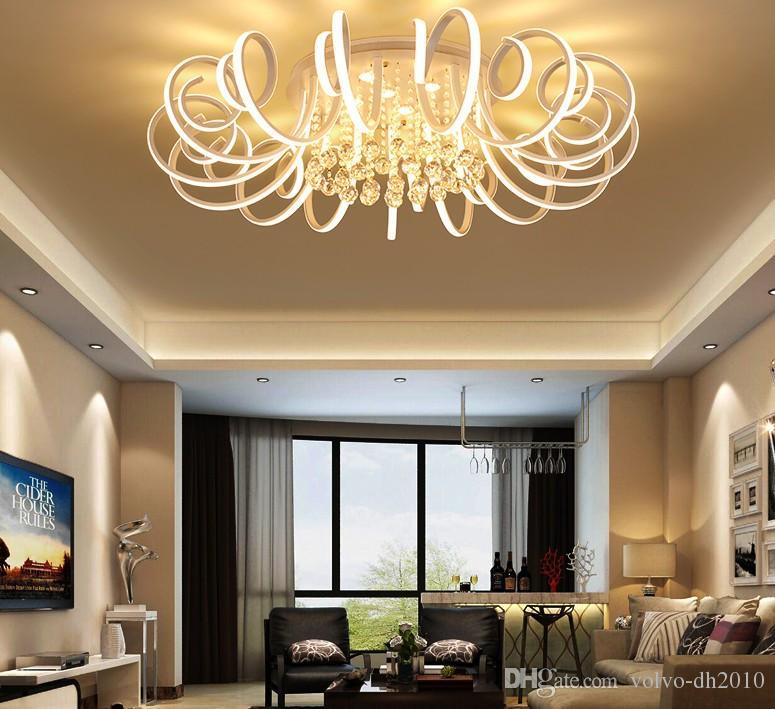 Nowy Nowoczesny LED Sufit Żyrandol Światła do Salonu Sypialnia Round Art Kryty Akrylowe Świecznik Lampy Lampy LLFA