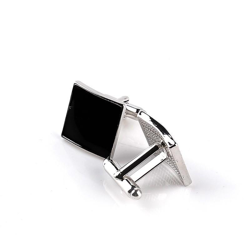 Erkekler Kadınlar Basit Stil İş Gömlek Manşet Düğme Aksesuarlar için Yüksek Kalite Klasik Özel Gümüş Siyah Emaye Kare Kol Düğmeleri