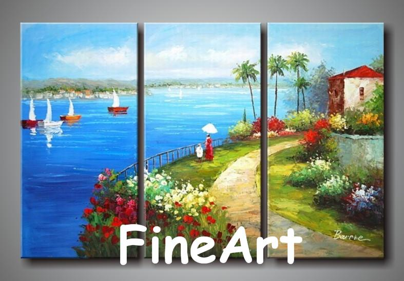2019 Handmade Canvas Art Set 3 Mediterranean Landscape Oil Painting  Wholesale Canvas Painting Ideas Decoration Of The Walls In The Bedroom From