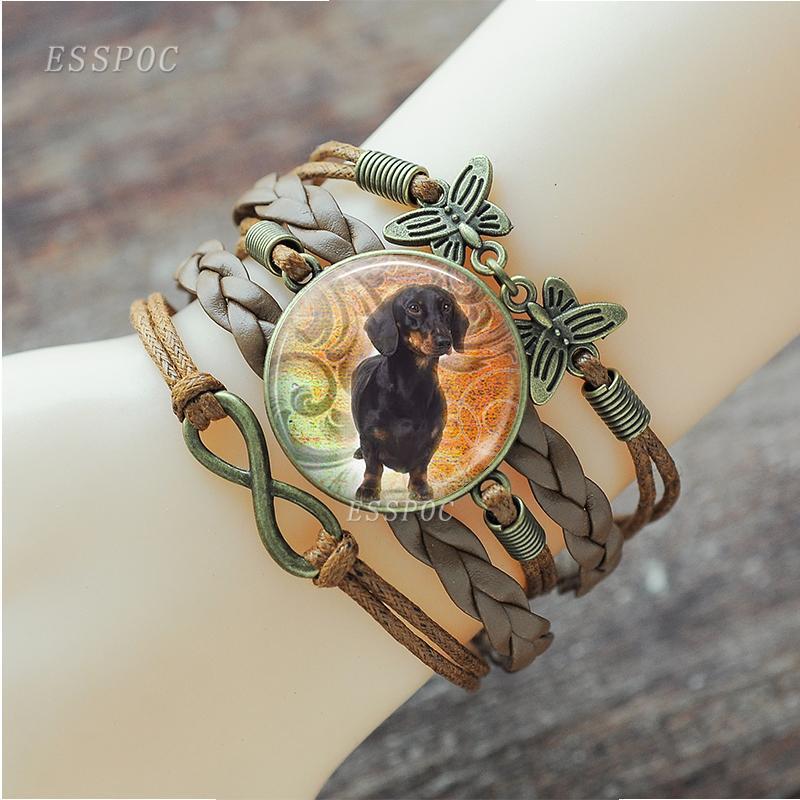 Noir chien de teckel Bijoux en verre Dôme tissé Charn Bracelet Pet Dog Lover Gifts Bangle
