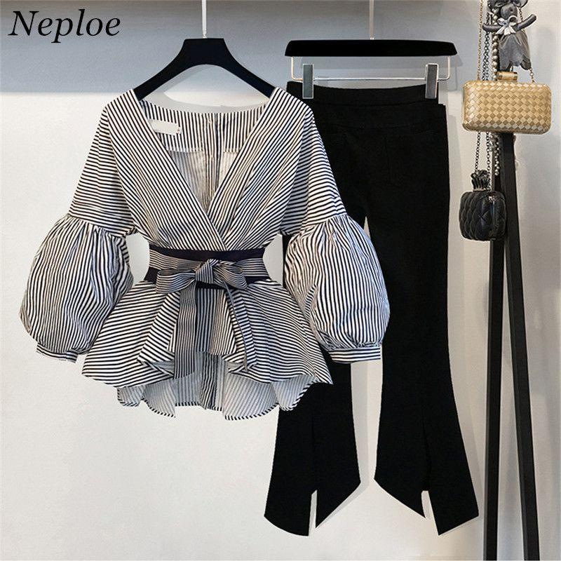 Neploe 2018 Nova Blusa Listrada Calças Perna Larga Conjunto com Caixilhos Da Moda Puff Blusas de Manga + Calças Flare 2 PCs Mulheres Ternos 68191 D18110706