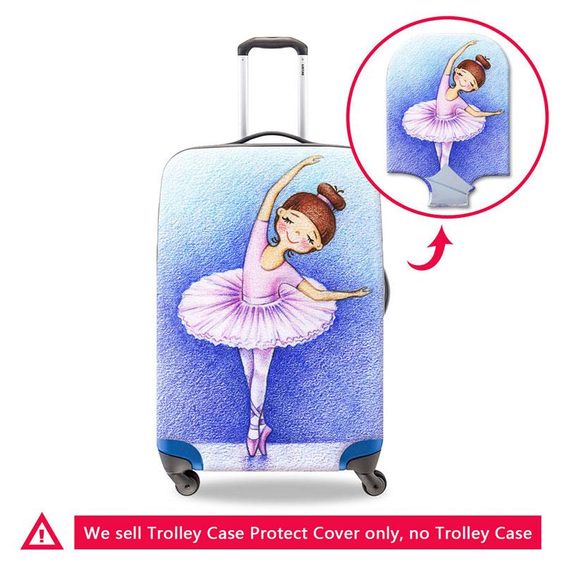 Cartoon Luggage Protective Covers Cute Travel Bag Cover for Girls Ballet Girl Printing Elastic Suitcase Rain Cover Zipper Trolley Case Cover