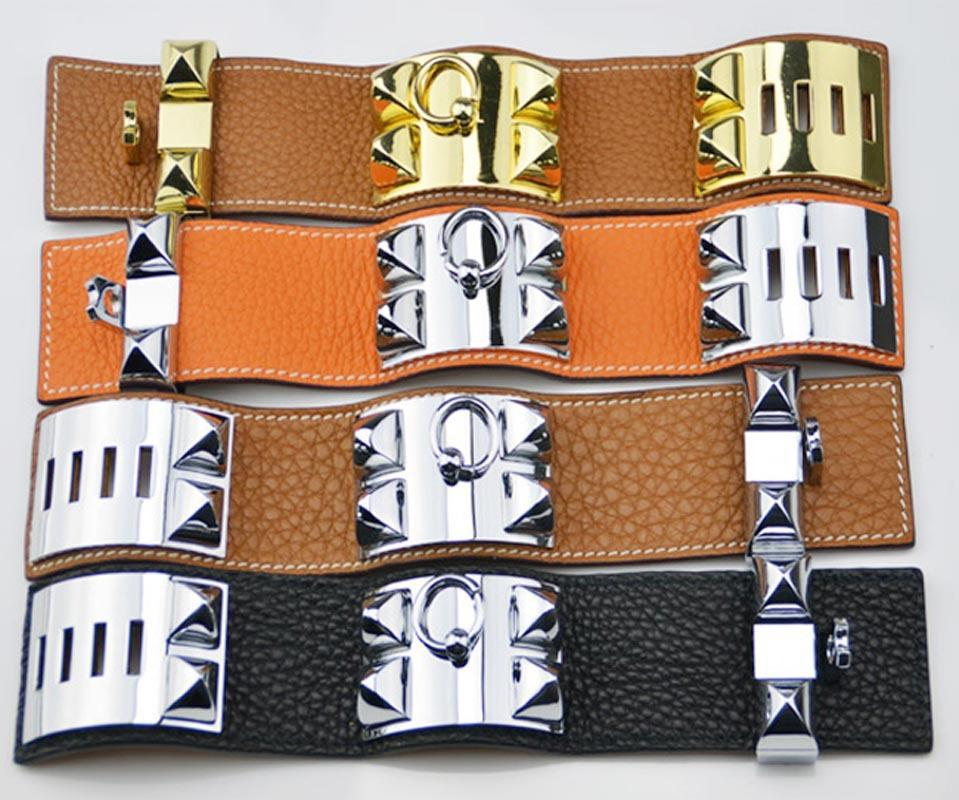 Hot sale CDC New design Titanum steel bracelet with genuine leather in many colors Women and man brand name jewelry gifts