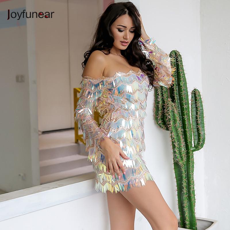 Joyfunear sexy de l'épaule robe d'été pompon sequin 2018 beach party mini-robes manches haut-parleur femmes robe vintage vestidos