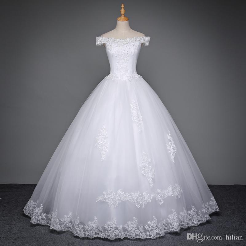 Blanco / marfil de longitud completa Cap hombro apliques de encaje princesa vestido de novia vestido de novia personalizado más el tamaño de encaje Up Back boda formal ocasión