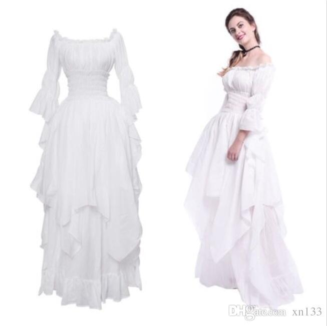 Mittelalterliche Renaissance weißen langen Gericht Kleid Nacht Prinzessin Nachtwäsche USA Schiff