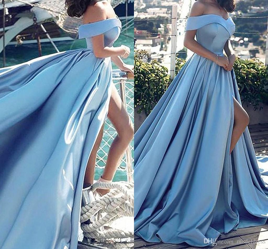 Off Shoulder High Split 2018 Vestidos de baile Side Slit A Line Sweep Train Light Sky Blue Vestidos de fiesta por la noche Barato Tamaño personalizado