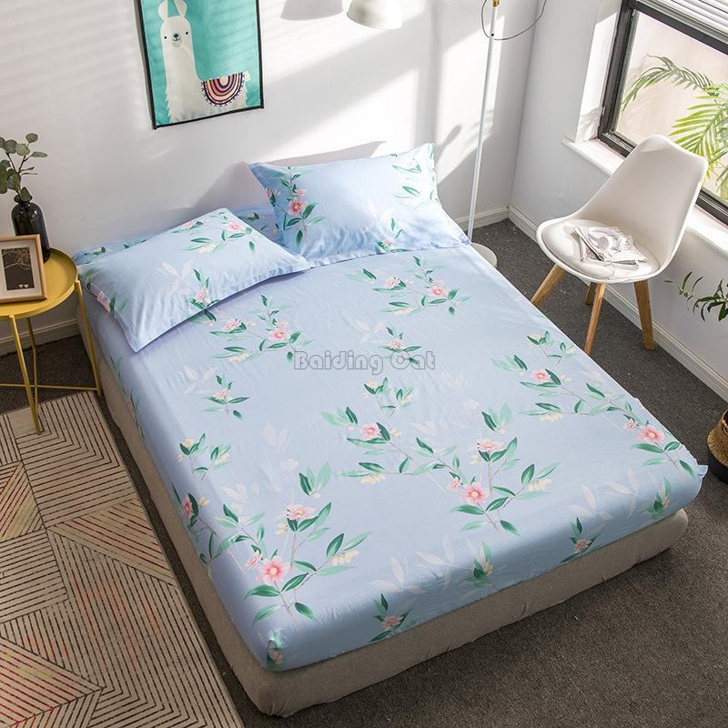 Spring Green Leaf Flower Plant Printed Fitted Sheet 100% Cotton Fabric Bed Sheets Bedding Set 120*200cm,150*200cm,180*200cm Size