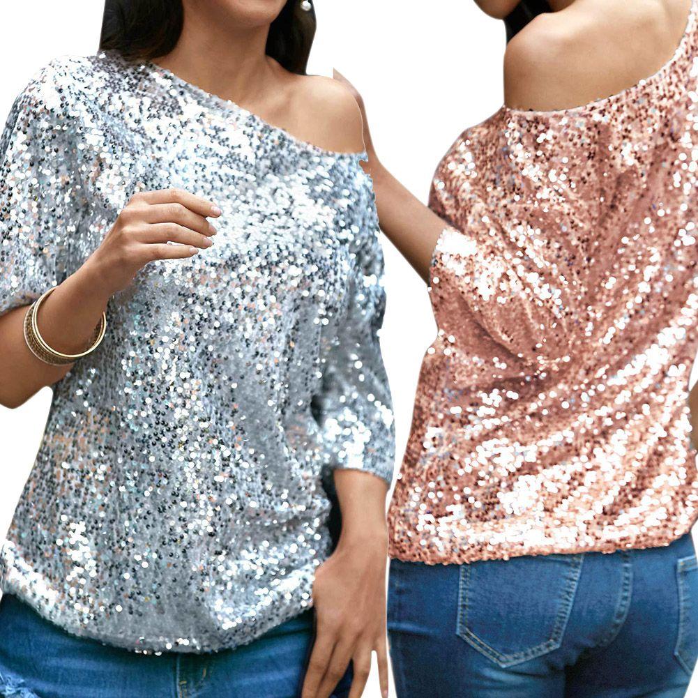 Le donne sexy allentano fuori dalla paillette scintillanti della maglietta di estate Magliette casuali di estate Streetwear Party Top T-shirt rosa / d'argento donne