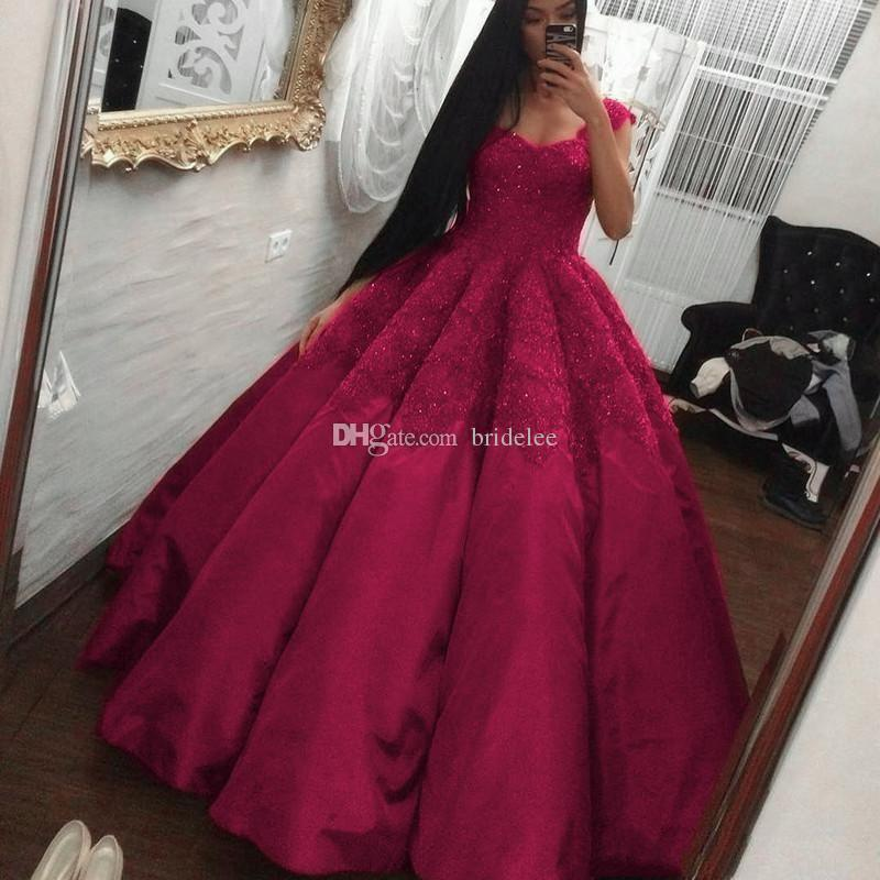 2018 Luxury Arabic Dubai Cap Sleeves Fuchsia Satin Lace Prom Dresses Beaded Ball Gown Plus Size Pageant Party Dress Formal Evening Gowns