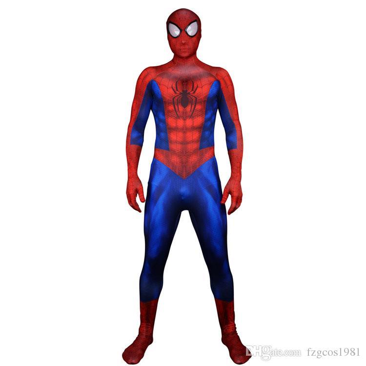 Superhero Spiderman Cosplay 3D Print Lycra Fullbody Suit Adult Kids Spider-man Costume Mask Carnival Costumes
