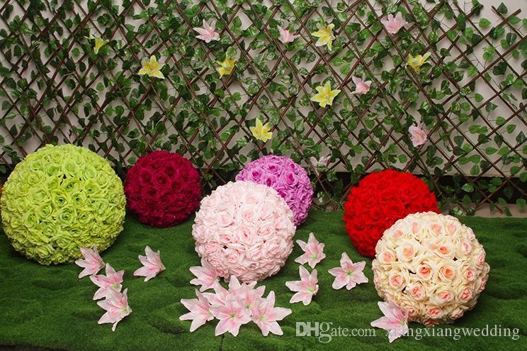 Yapay Gül Çiçek Topları Stimülasyon Plastik Çiçek Toplar Düğün Odası Partileri Dekorasyon Yol Kurşun Yedi Renk