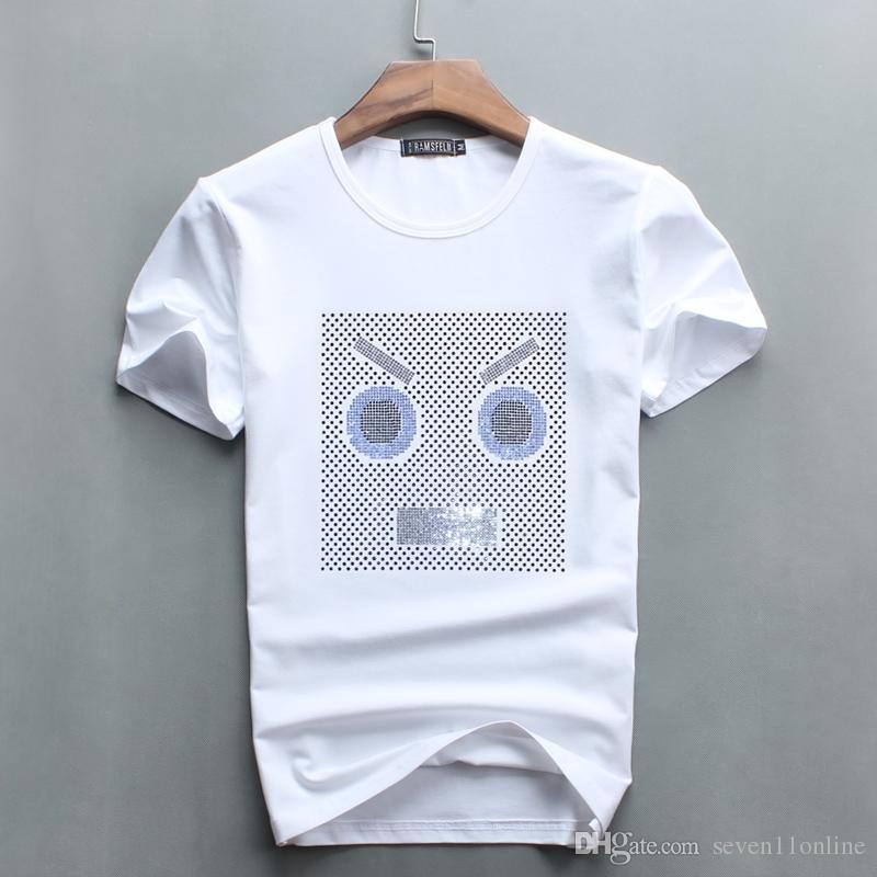 5 цветов мужской маленький милый алмазный дизайн короткие футболки повседневная хлопчатобумажная футболка с коротким рукавом футболки бренда белый о-шеи хип-хоп вершины