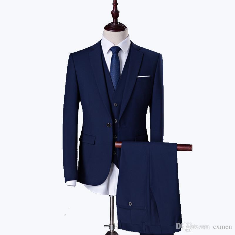 Blue Men Suit Wedding 2018 Custom Made Black Men Suit Slim Fit Best Men Blazer Handsome Groom Tuxedos Party 3 Pieces Jacket+Pants+Vest