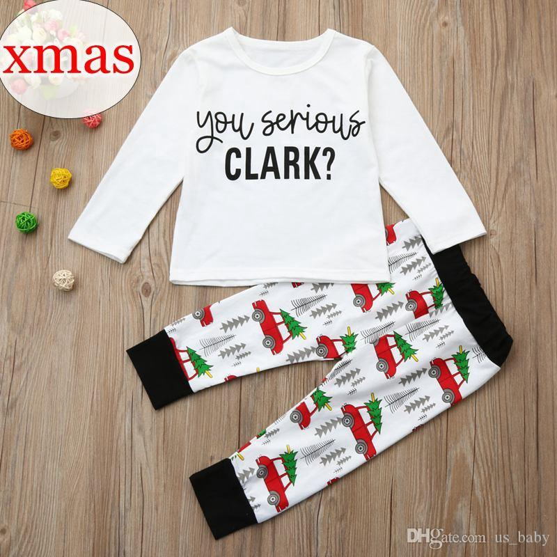 """Рождество ins пижамы наряд """" ты серьезно Кларк?""""Письмо печати одежда с длинным рукавом мультфильм автомобиль деревья печати брюки 2 шт набор"""