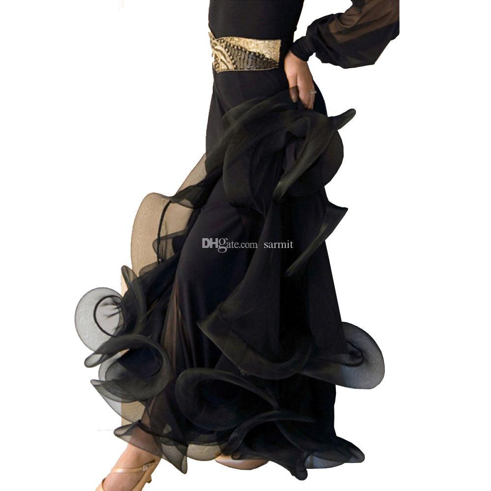 Faldas de baile de salón 7 colores elegantes danza de las mujeres falda con hueso de pescados de Hem Flamenco Faldas D0530 Negro azul rojo púrpura