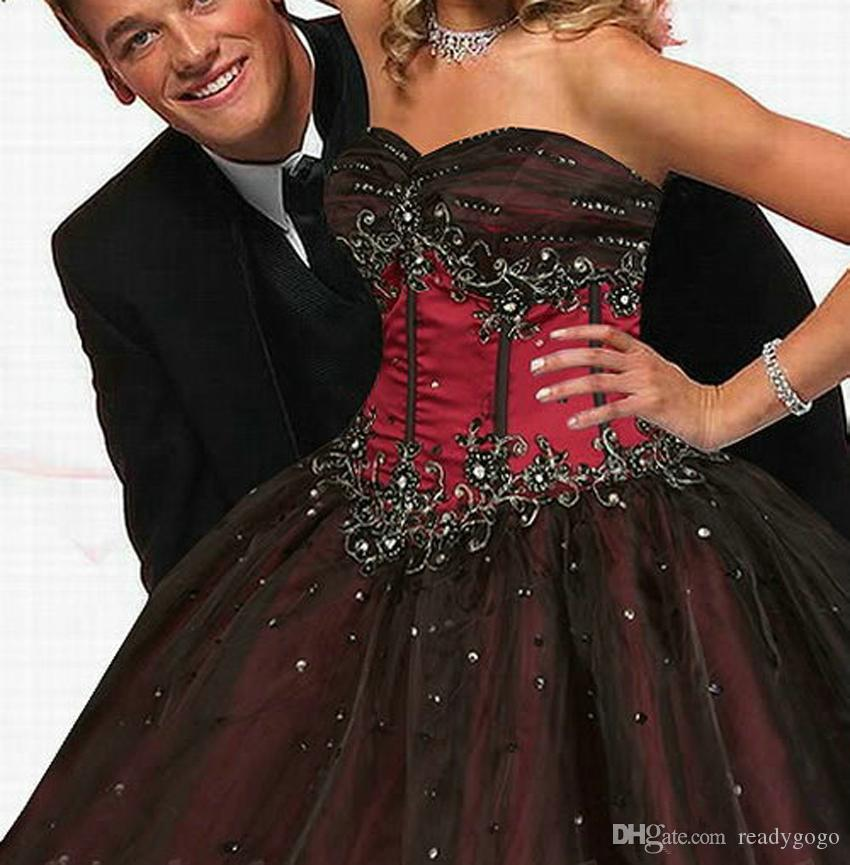 Red and Black Wedding Dress retro Corset Gothic Style Sweetheart Beading Princess Waist Lace-up Vintage Bride Gown