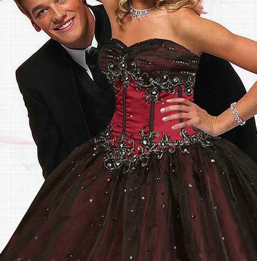 Robe de mariée rouge et noire rétro Corset Style Gothique Chérie Perles Princesse Taille Vintage robe de mariée à lacets
