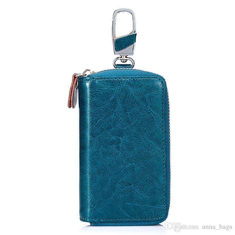 Piccole borse per capacità chiave multi key uomo portafoglio auto in pelle liscio genuino pianura multifunzione con cerniera con cerniera colori grande QBIOB