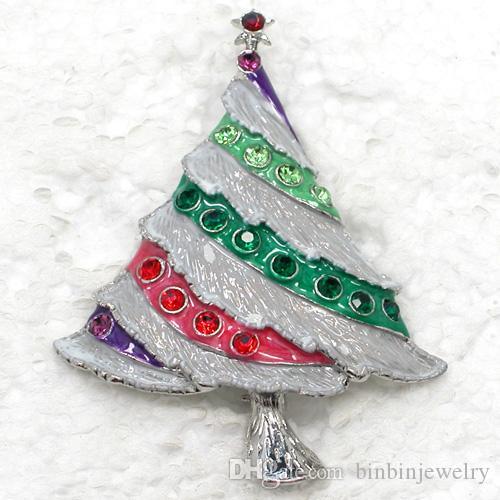 12ピース/ロット卸売クリスタルラインストーンエナメルクリスマスツリーピンブローチクリスマスプレゼントファッション衣装ジュエリーギフトC421