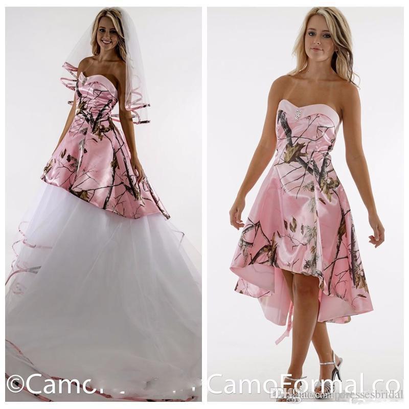 2017 Sweeetheart Rose Satin Camo Camo Robe de mariée avec des robes de mariée de tulle détachables Camouflage Lace de lacets Retour Long Vestidos de Novia