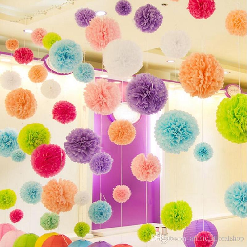15cm/6 inch Tissue Paper Pom Pom Flowers Kissing Ball Wedding Home Birthday Party&Wedding Car Decoration DIY Tissue Paper Decoration Festive