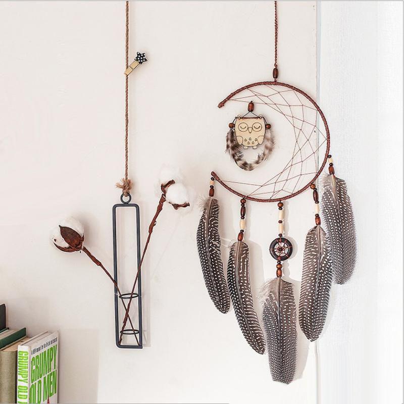 Handgemachte Traumfänger mit Eule Anhänger Doppelring Federn Windspiel Bar Hochzeit Home Wandbehang Dekor Geschenk Regalo