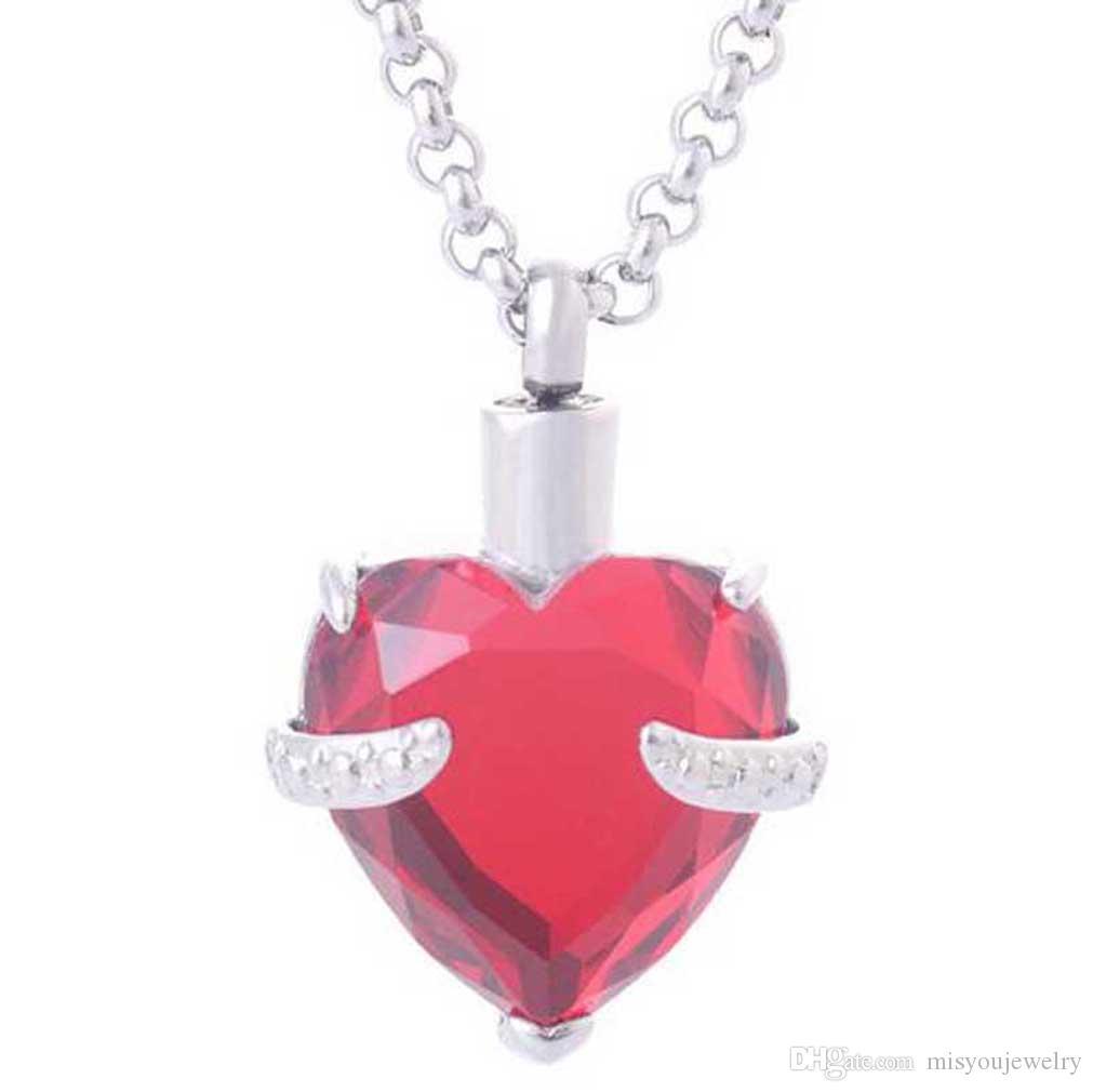 Herz Kristall Birthstone Anhänger Urne Halsketten für Asche Edelstahl Memorial Keepsake Feuerbestattung Schmuck + Fill Kit