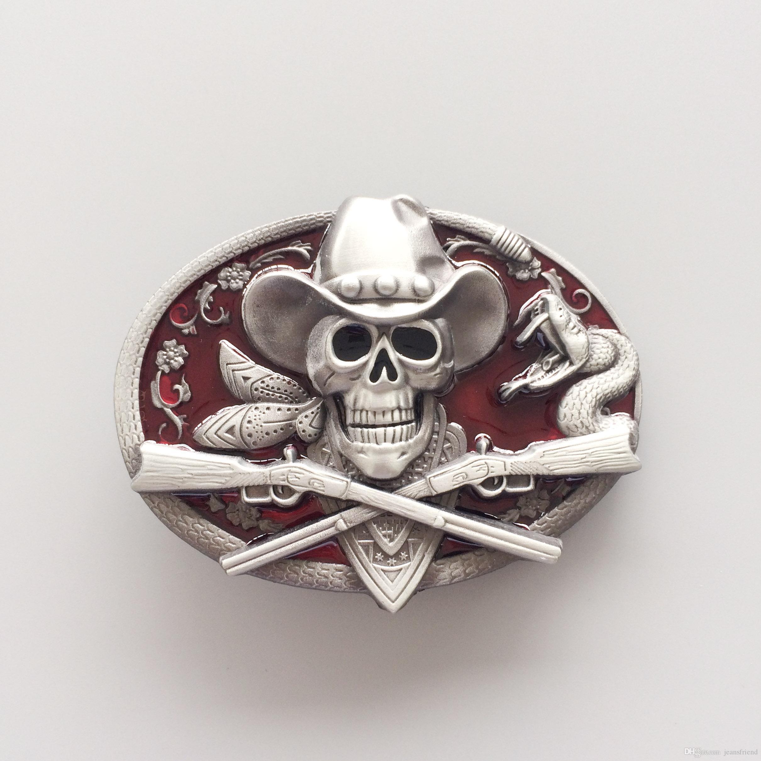 New Western Rodeo Crâne Cowboy Rouge Émail Ovale Vintage Ceinture Boucle Gurtelschnalle Boucle de ceinture