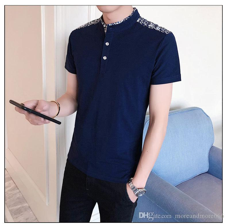 La camiseta de los hombres de la moda 2018 del verano del cortocircuito de las mangas del polo cuelga las tapas finas del algodón del color sólido
