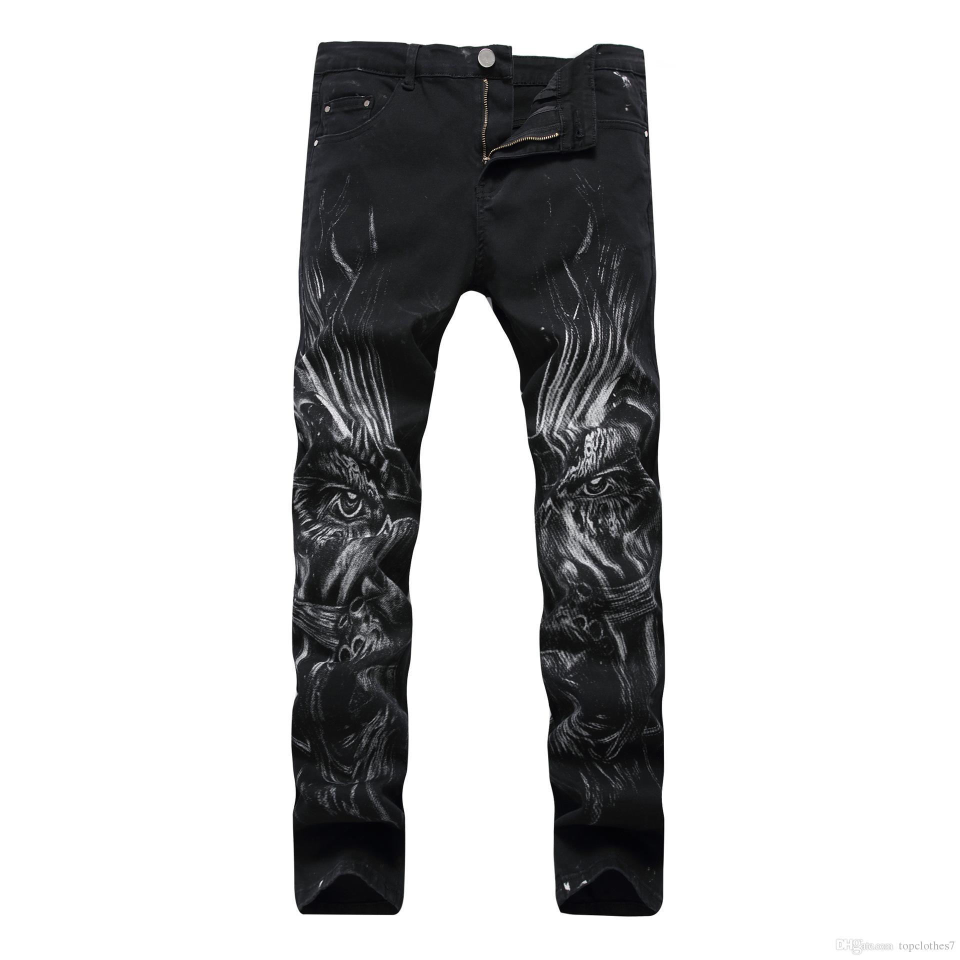 Hip-hop Miedo a las cremalleras slim fit slim mens Pantalones vaqueros denim de algodón negros desgastados Pantalones vaqueros rasgados hombres