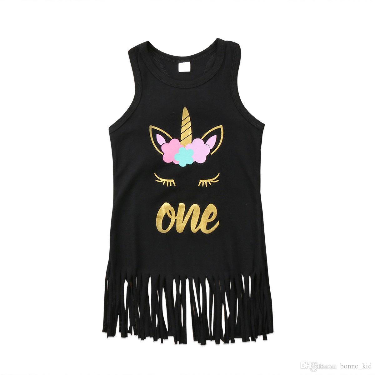 Baby Girls Unicorn Tassel Sundress Sleeveless Black Dresses Vest Skirt Golden Letter Print Summer Party Costume Beach Wears Princess Dress