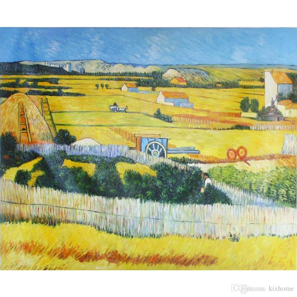 Pinturas modernas de obras de arte artesanal por Vincent van Gogh COLHEITA EM ARLES, C. lona para decoração de quarto