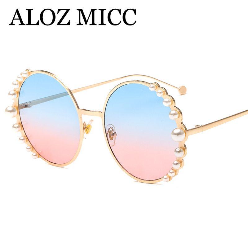 ALOZ MICC Vintage Round Sunglasses Women 2018 New Pearl Sun Glasses Female Brand Designer Metal Frame Eyewear UV400 A599
