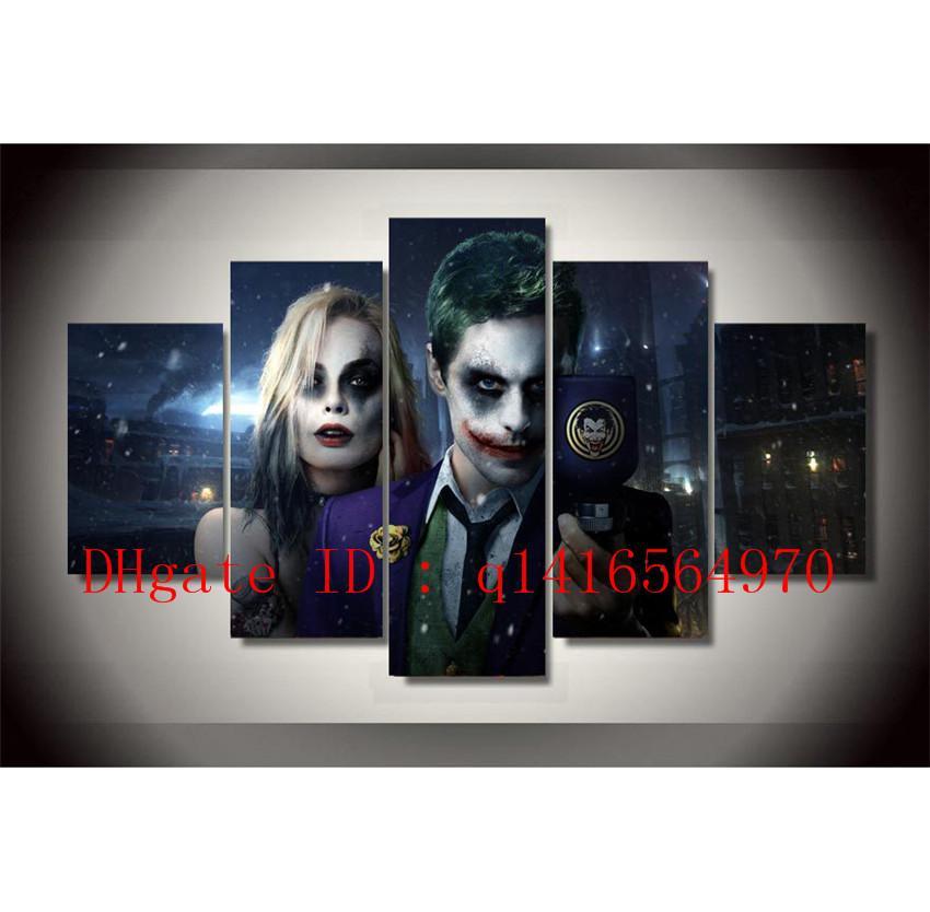 Joker E Harley Quinn, 5 pezzi Stampe su tela Wall Art Olio su tela Home Decor / (Senza cornice / Con cornice)